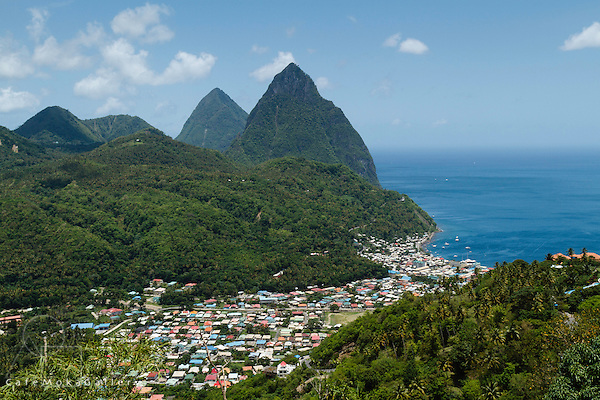 The Pitons and coastline above Soufriere, St Lucia