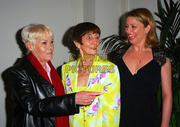 WENDY RICHARD, JUNE BROWN & LAURIE BRETT.June Brown Tribute Luncheon, Grosvenor House, London, UK..October 15th, 2006.Ref: CAN.half length black dress leather jacket yellow purple floral print pointing.www.capitalpictures.com.sales@capitalpictures.com.©Can Nguyen/Capital Pictures