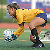 Haylee Poltorak #33, Massapequa goalie, covers a ball during the Nassau County varsity girls soccer Class AA final against Calhoun at Cold Spring Harbor High School on Friday, Nov. 3, 2017. Massapequa won 1-0 in overtime.