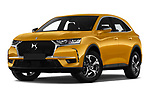 Stock pictures of low aggressive front three quarter view of a 2018 DS DS7 Crossback Be Chic 5 Door SUV