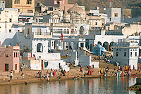Pushkar Lake is one of the five most sacred pilgrimage destinations for Hindus in India. It is believed that Pushkar Lake was created when a lotus petal fell from the hand of Brahma the Creator.