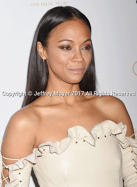 LOS ANGELES, CA - FEBRUARY 23: Actress Zoe Saldana attends Cadillac's 89th annual Academy Awards celebration at Chateau Marmont on February 23, 2017 in Los Angeles, California.