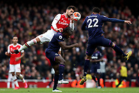 7th March 2020; Emirates Stadium, London, England; English Premier League Football, Arsenal versus West Ham United; Pablo Mari of Arsenal wins a header over Michail Antonio of West Ham United \