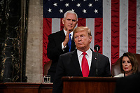 FEBRUARY 5, 2019 - WASHINGTON, DC: President Donald Trump delivered the State of the Union address, with Vice President Mike Pence and Speaker of the House Nancy Pelosi, at the Capitol in Washington, DC on February 5, 2019.<br /> CAP/MPI/RS<br /> &copy;RS/MPI/Capital Pictures