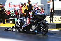 Mar 17, 2017; Gainesville , FL, USA; NHRA pro stock motorcycle rider Cory Reed during qualifying for the Gatornationals at Gainesville Raceway. Mandatory Credit: Mark J. Rebilas-USA TODAY Sports