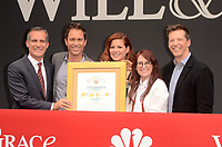 "Eric Garcetti, Eric McCormack, Debra Messing, Megan Mullally, Sean Hayes<br /> at the ""Will & Grace"" Start of Production Kick Off Event, Universal Studios, Universal City, CA 08-02-17<br /> David Edwards/DailyCeleb.com 818-249-4998"