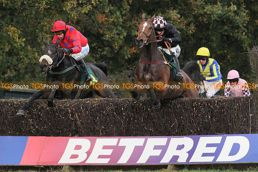 Race winner Romanesco ridden by Timmy Murphy (L) jumps alongside Court By Surprise ridden by Dougie Costello in the Kettle Chips Handicap Chase - Horse Racing at Fakenham Racecourse, Norfolk - 26/10/12 - MANDATORY CREDIT: Gavin Ellis/TGSPHOTO - Self billing applies where appropriate - 0845 094 6026 - contact@tgsphoto.co.uk - NO UNPAID USE