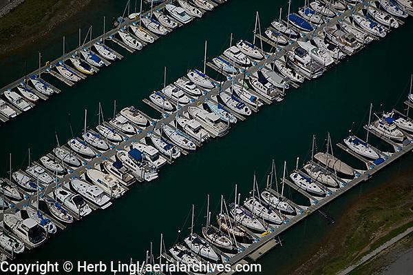 aerial photograph, sailboats, marina Sausalito, Marin County, California