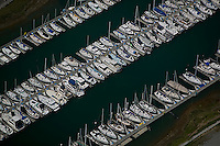 aerial photograph, sailboats, marina Sausalito, Marin County, California