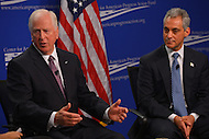 January 14, 2013  (Washington, DC)  Rep. Mike Thompson (D-CA) (left) and Chicago Mayor Rahm Emanuel (right) participate in a discussion on gun violence sponsored by the Center for American Progress action Fund.   (Photo by Don Baxter/Media Images International)