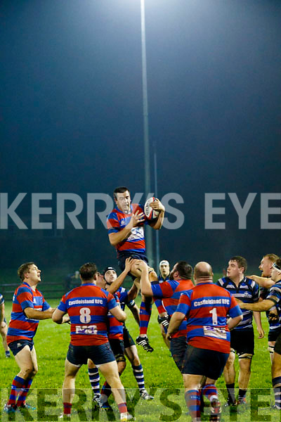 Matthew Ahern, Castleisland takes the ball well in a lineout against Crosshaven during the Div 2 Munster Junior League game in Castleisland last Saturday evening.