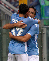 Calcio, Serie A: Lazio vs Udinese. Roma, stadio Olimpico, 13 settembre 2015.<br /> Lazio&rsquo;s Alessandro Matri, right, celebrates with teammate Danilo Cataldi after scoring during the Italian Serie A football match between Lazio and Udinese at Rome's Olympic stadium, 13 September 2015.<br /> UPDATE IMAGES PRESS/Isabella Bonotto
