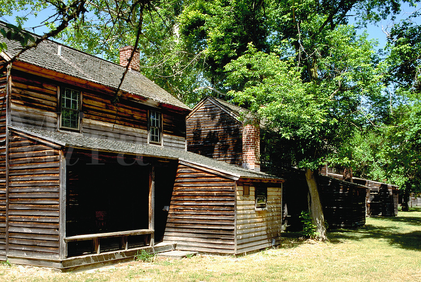 A row of Workers cabins in the historic, 19th century village, in New Jersey. American History, restored village, architecture. New Jersey, Batsto Village.