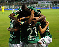 PALMASECA-COLOMBIA, 5 - 11- 2017. Nicolás Benedetti  del Deportivo Cali celebra después de anotar un gol al Atlético Nacional  durante partido por la fecha 19 de la Liga Aguila II 2017 jugado en el estadio Deportivo Cali de Palmaseca . / Nicolas Benedetti of Deportivo Cali celebrates after scoring a goal to Atletico Nacional  during match for the date 19 of the Liga Aguila II 2017 played at the Deportivo Cali Stadium in Palmaseca   . Photo:VizzorImage / Nelson Rios  / Contribuidor