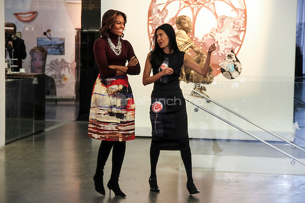 NEW YORK, NY - FEBRUARY 20: CEO of WAT-AHH, Rose Cameron and First Lady Michelle Obama attends WAT-AHH's Taking Back The Streets! location inside the New Museum in New York, New York on February 20, 2014. Photo Credit: Walik Goshorn/MediaPunch