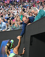 January 1, 2020: 14th seed SOFIA KENIN (USA) celebrates with her team after defeating GARBIÑE MUGURUZA (ESP) on Rod Laver Arena in the Women's Singles Final match on day 13 of the Australian Open 2020 in Melbourne, Australia. Photo Sydney Low. Kenin won 46 62 62