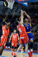 Valencia Basket's Romain Sato and Pierre Oriola and Herbalife Gran Canaria's Richard Hendrix during Quarter Finals match of 2017 King's Cup at Fernando Buesa Arena in Vitoria, Spain. February 17, 2017. (ALTERPHOTOS/BorjaB.Hojas) /Nortephoto.com