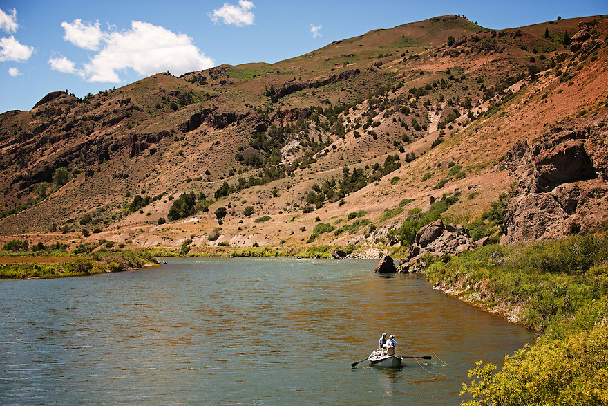 Anglers fish from a drift boat on the Yellowstone River near Point of Rocks Fishing Access Site in Paradise Valley.