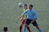 VOETBAL: Leeuwarden: Sportpark Wiarda, 09-09-2012, Zondag 1e klasse F, FVC - LAC Frisia, Eindstand 4-0, FVC-speler Jeffrey Hollander (links) in duel om de bal met Frisia-speler (#10), ©foto Martin de Jong