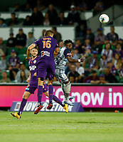 1st February 2020; HBF Park, Perth, Western Australia, Australia; A League Football, Perth Glory versus Melbourne Victory; Tomislav Mrcela of the Perth Glory wins the header against Elvis Kamsoba of Melbourne Victory