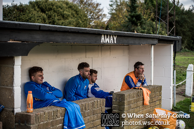 Harwich &amp; Parkeston 2 Barnston 0, 11/11/2017. Royal Oak Ground, Andreas Carter Essex &amp; Suffolk Border League Premier Division. Harwich &amp; Parkeston reached the final of the Amateur Cup in 1953 at Wembley Stadium and played in front of a crowd of 100,000. <br /> The away dugout looks dejected. Photo by Simon Gill.