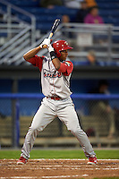 Williamsport Crosscutters shortstop Luis Espiritu, Jr. (27) at bat during a game against the Batavia Muckdogs on August 27, 2015 at Dwyer Stadium in Batavia, New York.  Batavia defeated Williamsport 3-2.  (Mike Janes/Four Seam Images)