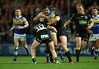 Picture by John Clifton/SWpix.com - 04/05/2018 - Rugby League - Betfred Super League - Leeds Rhinos v Warrington Wolves - Headingley Carnegie Stadium, Leeds, England - Leeds Rhinos' Ash Golding in action with Warrington Wolves' Mike Cooper and Chris Hill