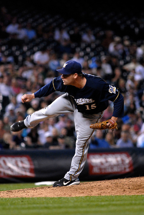 06 June 08: Milwuakee Brewers pitcher Ben Sheets follows through on a pitch against the Colorado Rockies. The Rockies defeated the Brewers 6-4 at Coors Field in Denver, Colorado on June 6, 2008. For EDITORIAL use only