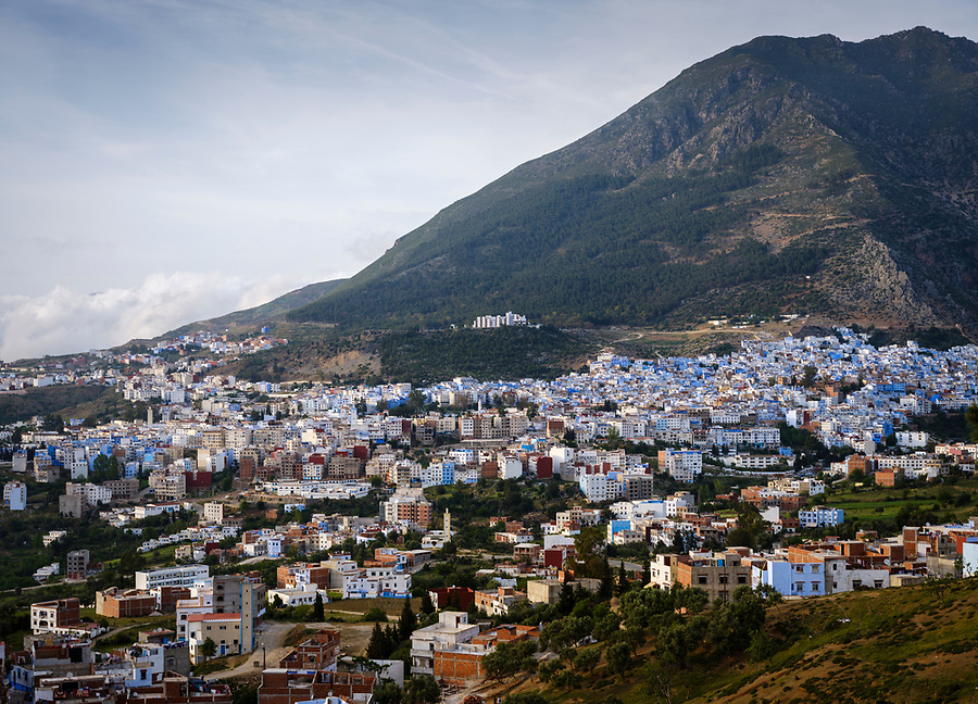 CHEFCHAOUEN, MOROCCO - CIRCA APRIL 2017: Aerial view of Chefchaouen. This is a popular tourist destination in Morocco.