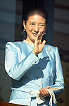 January 2, 2014, Tokyo, Japan -  Japan's Crown Princess Masako wave to well-wishers with Emperor Akihito and other members of the royal family from the balcony of the Imperial Palace during a New Year's public appearance in Tokyo on Wednesday, January 2, 2014.  (Photo by Kaku Kurita/AFLO) FYJ -ks-