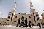 Palestinians attend the opening ceremony of Sheikh Hamad's mosque, in Khan Younis in the southern Gaza strip, on April 10, 2017. Photo by Ashraf Amra