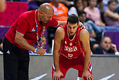 7th September 2017, Fenerbahce Arena, Istanbul, Turkey; FIBA Eurobasket Group D; Belgium versus Serbia; Head Coach Aleksandar Djordjevic of Serbia gives advices to Dragan Milosavljevic during the match