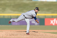 Surprise Saguaros relief pitcher Joe Barlow (19), of the Texas Rangers organization, follows through on his delivery during an Arizona Fall League game against the Mesa Solar Sox at Sloan Park on November 15, 2018 in Mesa, Arizona. Mesa defeated Surprise 11-10. (Zachary Lucy/Four Seam Images)
