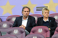20190813 - ANDERLECHT, BELGIUM : Kris Vanderhaeghen (left) pictured with former Red Flames coach Anne Noe during the female soccer game between the Belgian RSCA Ladies – Royal Sporting Club Anderlecht Dames and the Northern Irish Linfield ladies FC , the third and final game for both teams in the Uefa Womens Champions League Qualifying round in group 8 , Tuesday 13 th August 2019 at the Lotto Park Stadium in Anderlecht , Belgium  .  PHOTO SPORTPIX.BE | STIJN AUDOOREN