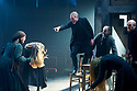 The Crucible by Arthur Miller, directed by Yael Farber. With  Samantha Colley as Abigail Williams, Jack Ellis as Deputy Governor Danforth  [Pointing]  Opens at The Old Vic Theatre  on 3/7/14  pic Geraint Lewis