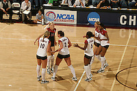 3 December 2005: Kristin Richards, Courtney Schultz, Katie Goldhahn, Njideka Nnamani, Franci Girard and Erin Waller during Stanford's 3-1 loss to Santa Clara University at Maples Pavilion in Stanford, CA.