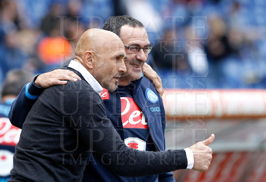 Calcio, Serie A: Roma vs Napoli. Roma, stadio Olimpico, 25 aprile 2016.<br /> Roma's coach Luciano Spalletti, left, greets Napoli's coach Maurizio Sarri prior to the start of the Italian Serie A football match between Roma and Napoli at Rome's Olympic stadium, 25 April 2016. <br /> UPDATE IMAGES PRESS/Isabella Bonotto