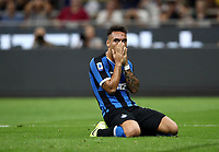 Calcio, Serie A: Inter Milano - Lecce, Giuseppe Meazza stadium, September 26 agosto 2019.<br /> Inter's Lautaro Martinez reacts during the Italian Serie A football match between Inter and Lecce at Giuseppe Meazza (San Siro) stadium, September August 26,, 2019.<br /> UPDATE IMAGES PRESS/Isabella Bonotto