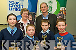 Runners up in the U11 section of the Credit Union Chapter 23 Quiz held in the ITT North Campus on Sunday afternoon representing Faha NS Milltown were l/r Sinead O'Sullivan, Fion Corcoran, Niall O'Sullivan and Brendan Wrenn, with Vice Chair of Chapter 23 Mary O'Shea and teacher Pat Foley at the back............................................................................................................................................... ............