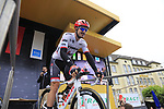 John Degenkolb (GER) Trek-Segafredo at sign on in Dusseldorf before the start of Stage 2 of the 104th edition of the Tour de France 2017, running 203.5km from Dusseldorf, Germany to Liege, Belgium. 2nd July 2017.<br /> Picture: Eoin Clarke | Cyclefile<br /> <br /> <br /> All photos usage must carry mandatory copyright credit (&copy; Cyclefile | Eoin Clarke)