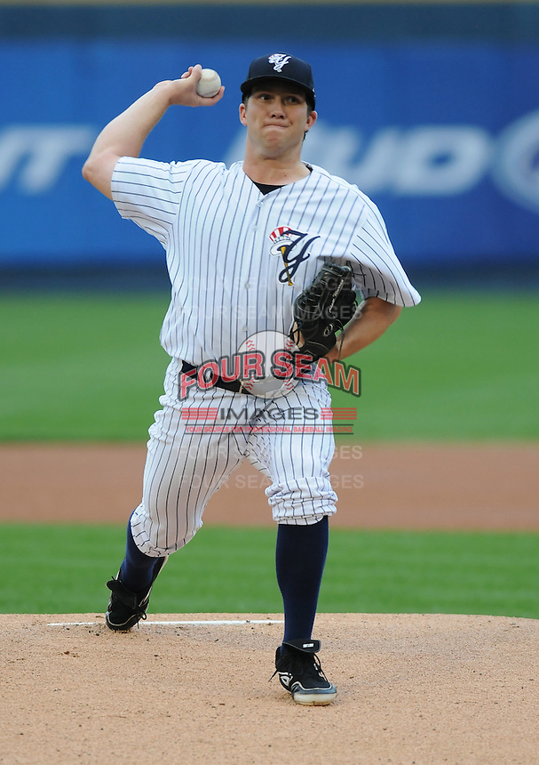 Starting pitcher Adam Warren (28) of the Scranton/Wilkes-Barre Yankees, International League affiliate of the New York Yankees, in a game against the Norfolk Tides on June 20, 2011, at PNC Park in Moosic, Pennsylvania. (Tom Priddy/Four Seam Images)