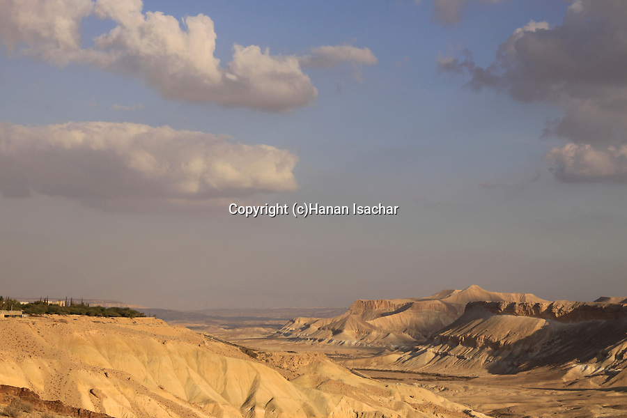 Israel, Northern Negev Mountain, Kibbutz Sde Boker overlooking Zin valley.