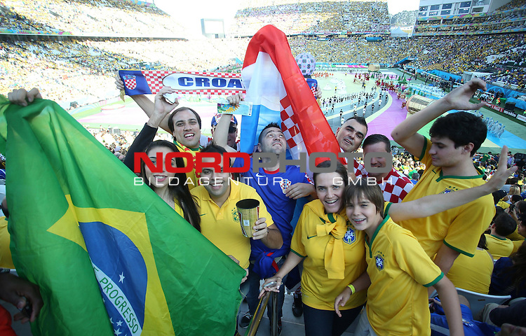 2014 Fifa World Cup opening ceremony at the Arena Corinthians in Sao Paulo. Fans<br /> <br /> Foto &copy;  nph / PIXSELL / Sajin Strukic