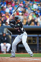 New Britain Rock Cats shortstop Trevor Story (4) at bat during a game against the Akron RubberDucks on May 21, 2015 at Canal Park in Akron, Ohio.  Akron defeated New Britain 4-2.  (Mike Janes/Four Seam Images)