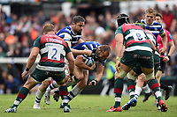 Tom Dunn of Bath Rugby takes on the Leicester Tigers defence. Gallagher Premiership match, between Leicester Tigers and Bath Rugby on May 18, 2019 at Welford Road in Leicester, England. Photo by: Patrick Khachfe / Onside Images
