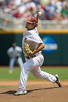 Mississippi State pitcher Kendall Graveman (49) delivers a pitch to the plate during Game 11 of the 2013 Men's College World Series against the Oregon State Beavers on June 21, 2013 at TD Ameritrade Park in Omaha, Nebraska. The Bulldogs defeated the Beavers 4-1, to reach the CWS Final and eliminating Oregon State from the tournament. (Andrew Woolley/Four Seam Images)