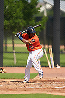 GCL Astros Nerio Rodriguez (58) at bat during a Gulf Coast League game against the GCL Mets on August 10, 2019 at FITTEAM Ballpark of the Palm Beaches Training Complex in Palm Beach, Florida.  GCL Astros defeated the GCL Mets 8-6.  (Mike Janes/Four Seam Images)