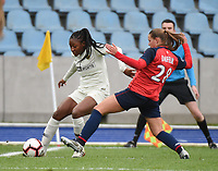 20190113 - LILLE , FRANCE : LOSC's Marine Dafeur (R) and PSG's Kadidiatou Diani (L) pictured during women soccer game between the women teams of Lille OSC and Paris Saint Germain  during the 16 th matchday for the Championship D1 Feminines at stade Lille Metropole , Sunday 13th of January 2019,  PHOTO Dirk Vuylsteke | Sportpix.Be