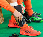 ROTTERDAM -  scheenbeschermers,  voor  de Pro League hockeywedstrijd heren, Nederland-Spanje (4-0) . COPYRIGHT KOEN SUYK