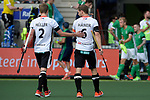 NED - Amsterdam, Netherlands, August 20: During the men Pool B group match between Germany (white) and Ireland (green) at the Rabo EuroHockey Championships 2017 August 20, 2017 at Wagener Stadium in Amsterdam, Netherlands. Final score 1-1. (Photo by Dirk Markgraf / www.265-images.com) *** Local caption *** Mathias Mueller #2 of Germany, Martin Haener #6 of Germany